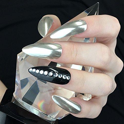 PrettyDiva Silver Chrome Pure Powder Mirror Effect Nail