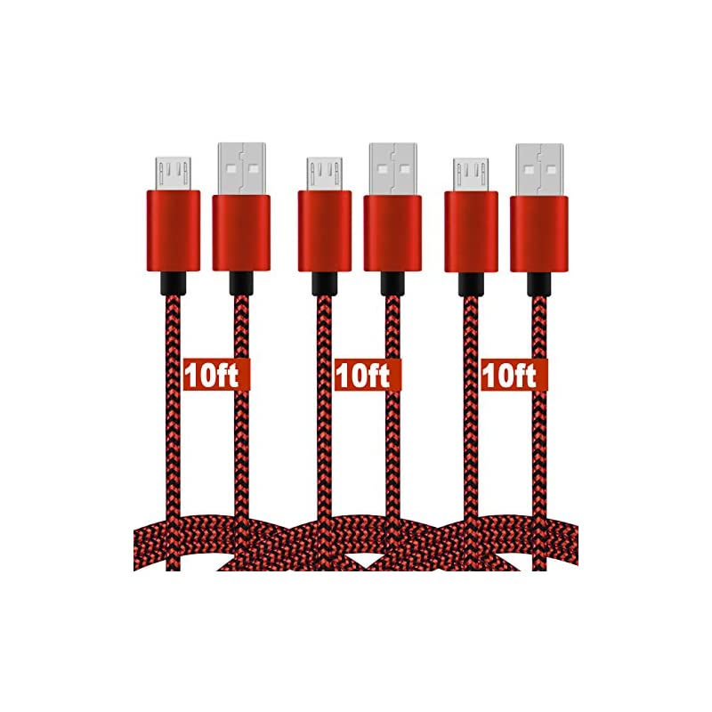 Micro USB Cable,(10FT 3Pack) Nylon Braided Micro USB Cord Xbox One/PS4 Controller,Quick Charge Android Charging Cable Wire LG V10,Honor 7X,Moto,Samsung Galaxy S6/S5/S4,Echo Dot(2nd)-Red