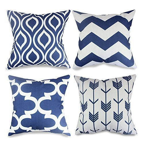 popeven 4 Packs Navy Blue Throw Pillows Home Decor Design Pi