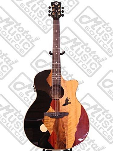 Luna VISTAWOLF Grand Auditorium Acoustic-Electric Guitar, Ebony ()