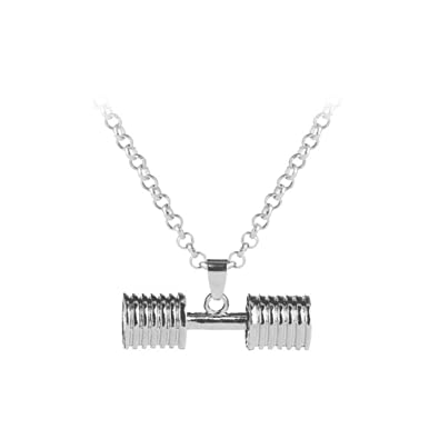 ZDHWM Mujer Joyas Pareja Pendantjewelry Colgante Mancuerna Collar Regalo de la joyería, Plata