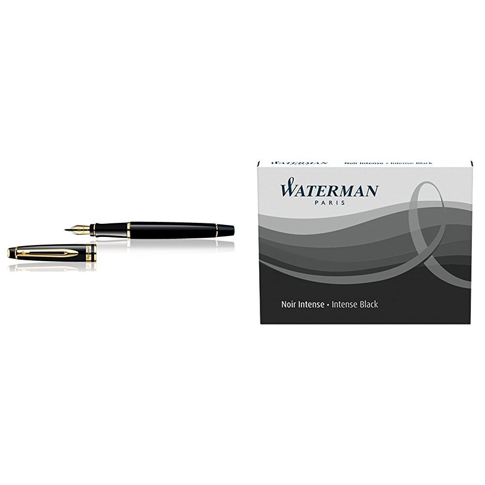 Finiture Cromate Ricariche DInchiostro Nero Waterman Expert 3 Penna Stilografica Black Gold Trim Pennino Medio