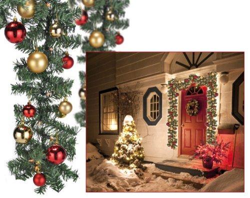 Spetebo Weihnachtsgirlande 5m mit 80er LED Lichterkette und Christbaumkugeln