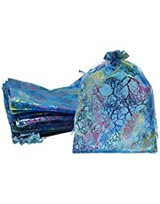 """Ankirol 100pcs Sheer Organza Favor Bags 8 X 12"""" Large Organza Drawstring Bags"""