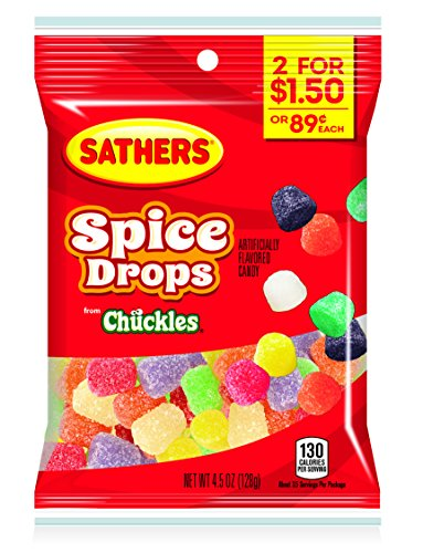 Sassafras Kids Fish - Sathers Spice Drops, 4.5 Ounce Bag, Pack of 12