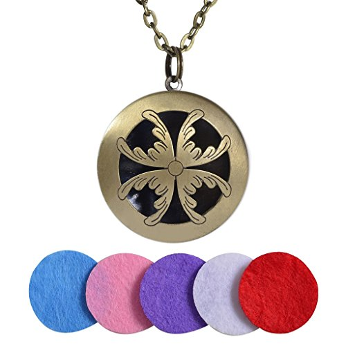 Yumei Jewelry Leaves Diffuser Locket Aromatherapy Essential Oil Pendant Vintage Necklace,Antique Bronze (Twist Leaf Drop)