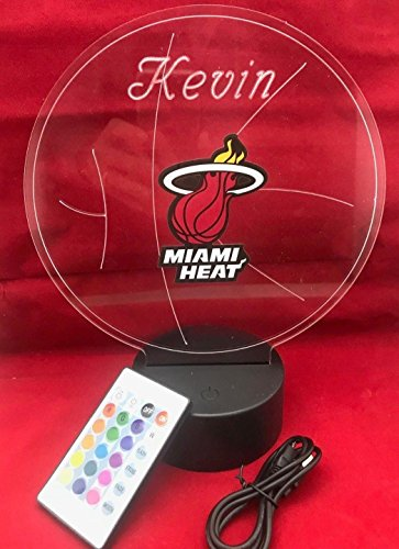 (Beautiful Handmade Acrylic Personalized Heat NBA Basketball Light Up Light Lamp LED Table Lamp, Our Newest Feature - It's Wow, Comes with Remote, 16 Color Options, Dimmer, Free Engraving, Great Gift)