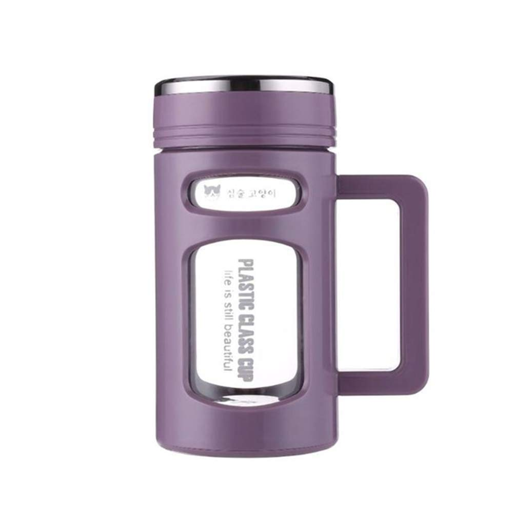 Double Layer Glass Water Bottle Stainless Steel Tea Filter Tumbler Office Glass Cups With Handgrip Tea Hot Water Tumblers 600ml 600ml