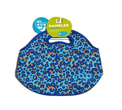 BYO Lunch Bag Orange and Blue Leopard Print