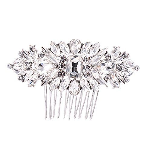 SEPBRIDALS Crystal Rhinestone Bride Wedding Hair Comb Pins Side Comb Accessories Jewelry GT4381 (Silver) by SEPBRIDALS