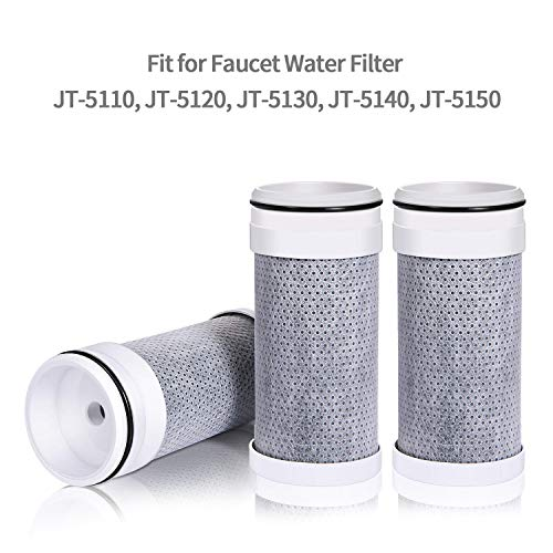 (JETERY 3 Pack Replacement Filters for Faucet, 320-Gallon Long Lasting Activated Carbon Fiber Filtration System, Fit for Faucet Water Filter JT-5110, JT-5120, JT-5130, JT-5140, JT-5150)