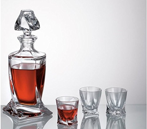 Crystalex-Bohemia-Quadro-Decanter-17-Ounce-Bohemian-Crystal-Glass-LiquorVodka-Carafe-with-Glass-Stopper