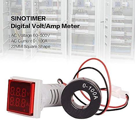 Peanutaor SINOTIMER Voltm/ètre AC Num/érique Amp/èrem/ètre 50-600V 100A 22mmLED Indicateur de Tension Indicateur de Tension Mini Volt Tester Panneau Aquare