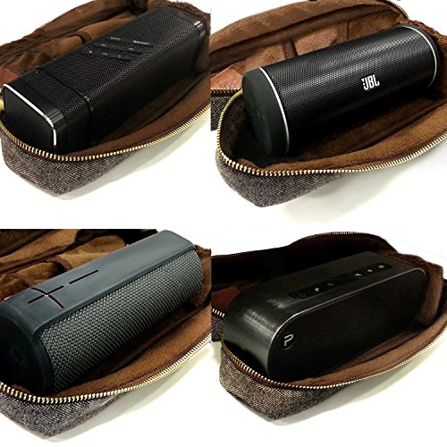 Tuff-luv Herringbone Tweed NFC Travel Case for SRS-X3, Soundface, JBL Flip 2, Iqualtech, Sharkk, ADX Fusion, Bolse, Beats Pill, Pure Voca) with NFC Tag (Bluetooth Speakers Including) - Brown
