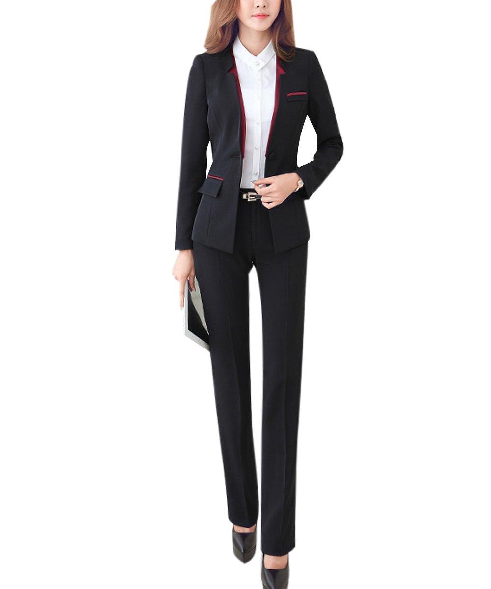 YUNCLOS ツーピース スリムフィット ビジネス ブレザージャケット オフィス レディーススーツセット B0711T7CPF L (US 12)|Black_blazer and Pants Black_blazer and Pants L (US 12)