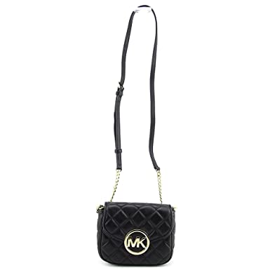 852540af7565 Michael Kors Small Fulton Quilted Crossbody BLACK: Handbags: Amazon.com