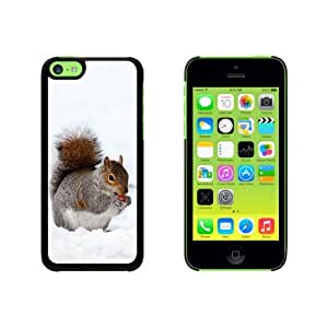 Squirrel Eating in Winter Snap On Hard Protective Case for Apple iPhone 5 5s - Black
