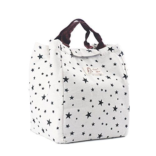 TOOGOO LUNCH BAG, WELL INSULATED & WATER-SLIDE COATING HAND BAG with Hook and Loop Strip (star -