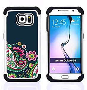 GIFT CHOICE / Defensor Cubierta de protección completa Flexible TPU Silicona + Duro PC Estuche protector Cáscara Funda Caso / Combo Case for Samsung Galaxy S6 SM-G920 // Floral Weave Pattern Blue Green //