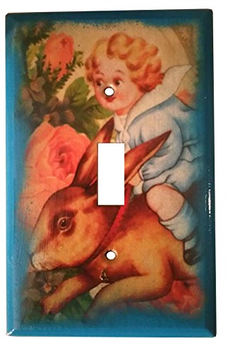 ian Boy Riding Bunny Rabbit Mixed Media Light Switch Cover (Garden Style Rabbit)