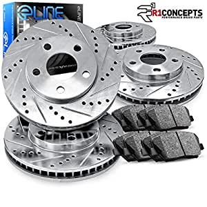 For 2008-2012 Nissan Pathfinder Front Rear eLine Black Drilled Brake Rotors