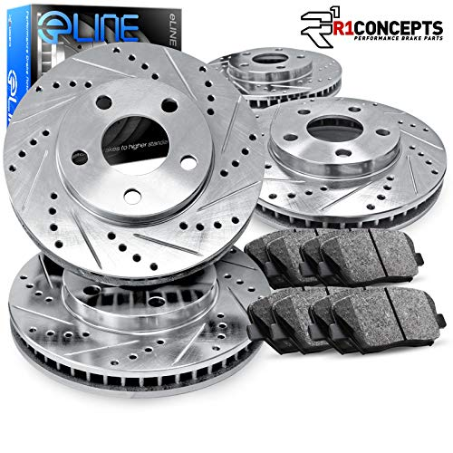 For 2001-2003 Acura CL Front Rear Drill/Slot Brake Rotors+Ceramic Brake Pads
