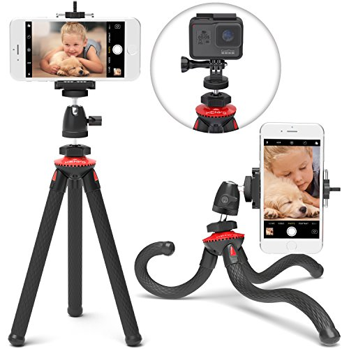 Xenvo SquidGrip iPhone Tripod, GoPro Tripod - Flexible Cell Phone Tripod Stand with Ball-Head 360, Compatible with iPhone, Android, Samsung, Google Smartphones, and ANY Mobile Phone (Red) ()