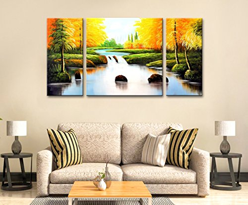 FLY SPRAY 3-Piece 100% Hand Painted Oil Paintings Panel Stretched Framed Ready Hang Flower Landscape Tree River Modern Abstract Painting Canvas Living Room Bedroom Office Wall Art Home (Framed Replica Line Up Card)