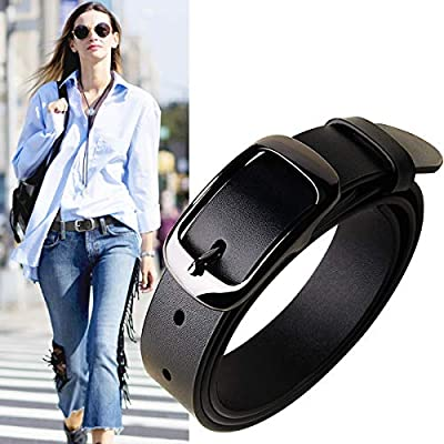 Womens Leather Belts Vintage Casual Retro Women Belt For Jeans Shorts Pants Dresses 1.25? Wide With Letter Buckle Black