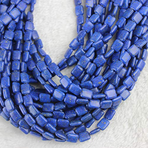(8x10mm Rectangle Lapis Lazuli Beads Loose Gemstone Beads for Jewelry Making Strand 15 inch (38-40pcs))