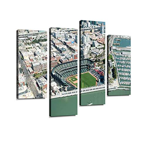(Baseball AT&T Park Stadium of San Francisco Canvas Wall Art Hanging Paintings Modern Artwork Abstract Picture Prints Home Decoration Gift Unique Designed Framed 4 Panel)