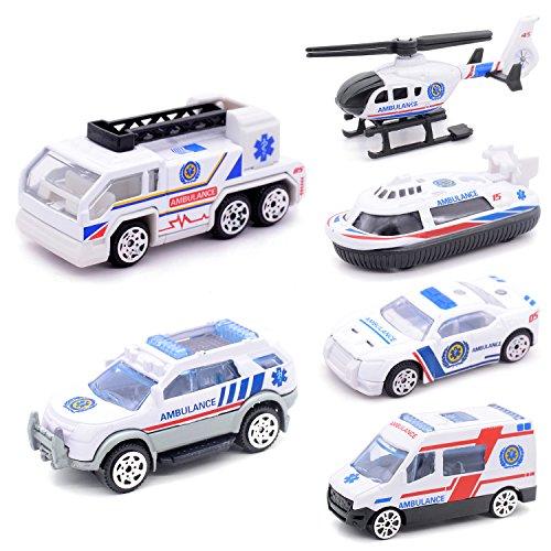 Mini Die-cast Metal Playset Medical Ambulance Vehicles Model Toys Set for Kids, ladder truck, yacht, sedan car, Van, Jeep Truck, Helicopter (Medical)