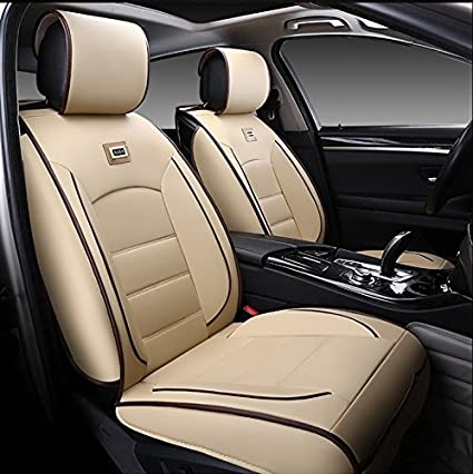 3D FRONTLINE Platinum Series PU Leather Car Seat Cover For Hyundai Grand I10 Beige