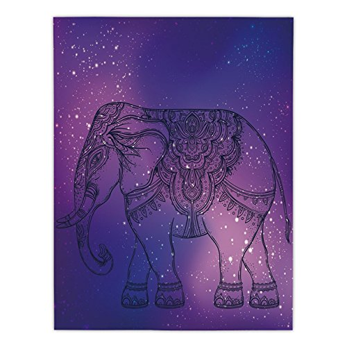 Satin Rectangular Tablecloth [ Elephant Mandala,Sketchy Hand Drawn Holy Guardian Animal Print in Outer Space Image,Purple and Pink ] Dining Room Kitchen Table Cloth Cover by iPrint