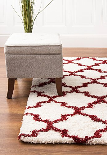 Super Area Rugs, Cozy Morrocan Trellis White & Brick Red High Pile Shag Rug, 3' 3