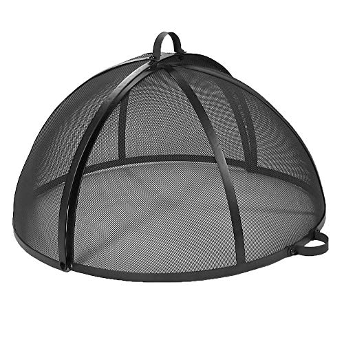 (Sunnydaze Fire Pit Spark Screen Cover, Easy Access, Outdoor Heavy Duty Round Firepit Lid Protector, 30 Inch)