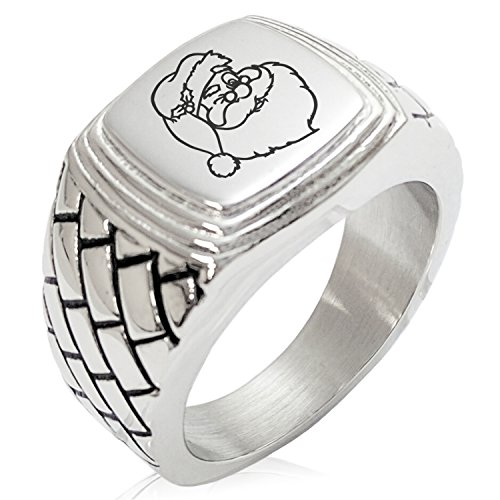 Two-Tone Stainless Steel Jolly Good Santa Claus Engraved Engraved Geometric Pattern Step-Down Biker Style Polished Ring, Size 9