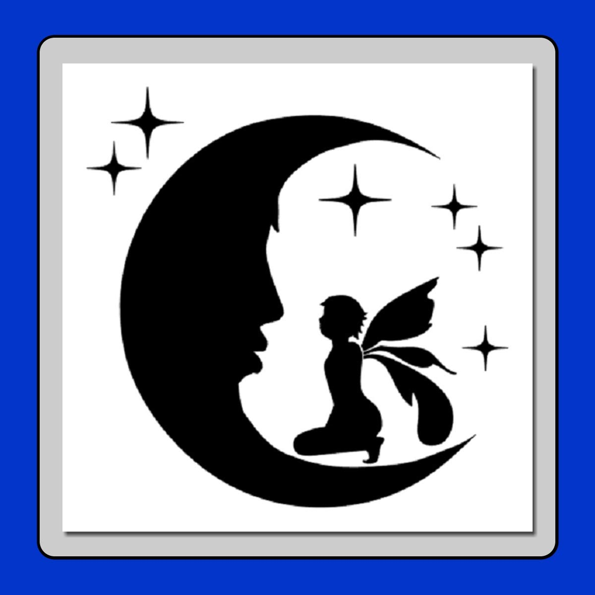 8 x 8インチ クラフトステンシルテンプレート 星と月に座る妖精 エアブラシ/ペイント/ファンタジー   B07MR8Q3DY