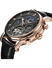 Men Full Automatic Mechanical Watch Tourbillon Luxury Brand Military Leather Sports Man Watch