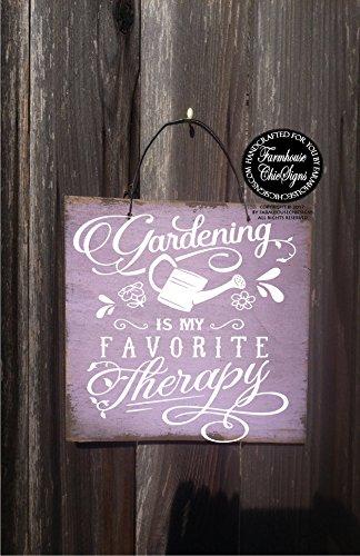 CELYCASY Garden Sign Gardening Sign Gift for Gardener Gardening is My Favorite Therapy Garden Decor Garden Art Garden ()