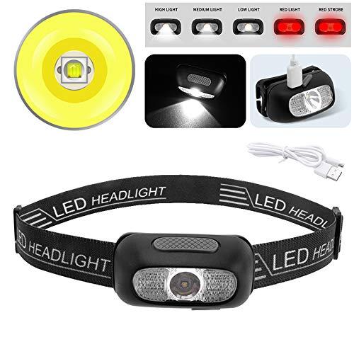 Boruit LED Headlamp Night Running USB Rechargeable LED Headlamp Waterproof White Red SOS Mini Camping Head Lamp Flashlight(Black)