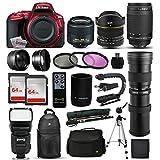 """Nikon D5500 Red DSLR Digital Camera + 18-55mm VR II + 6.5mm Fisheye + 70-300mm VR + 420-1600mm Lens + Filters + 128GB Memory + Action Stabilizer + i-TTL Autofocus Flash + Backpack + Case + 70"""" Tripod"""