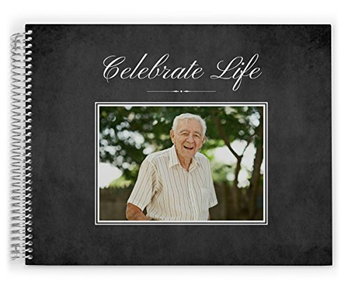 Funeral Guest Book Custom Printed with Photo, Celebrate Life, Black Elegant Photo, Custom Cover (11x8)