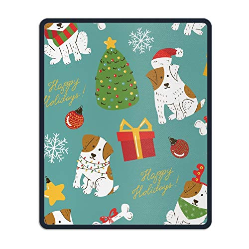 Mouse Pads Rubber Backing Custom Imaged, 11.8 x 9.8 inch - Vintage Christmas Cute White Dogs with Brown Spots