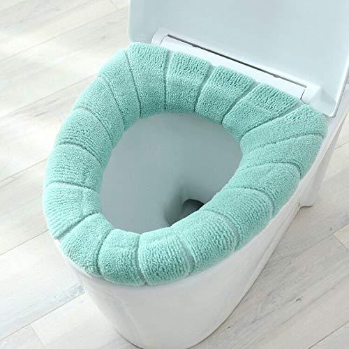 1 Stks dikker warm pompoen patroon wc-bril deksel ronde vorm pure kleur toilet stoel cover voor toilet (kleur: groen)