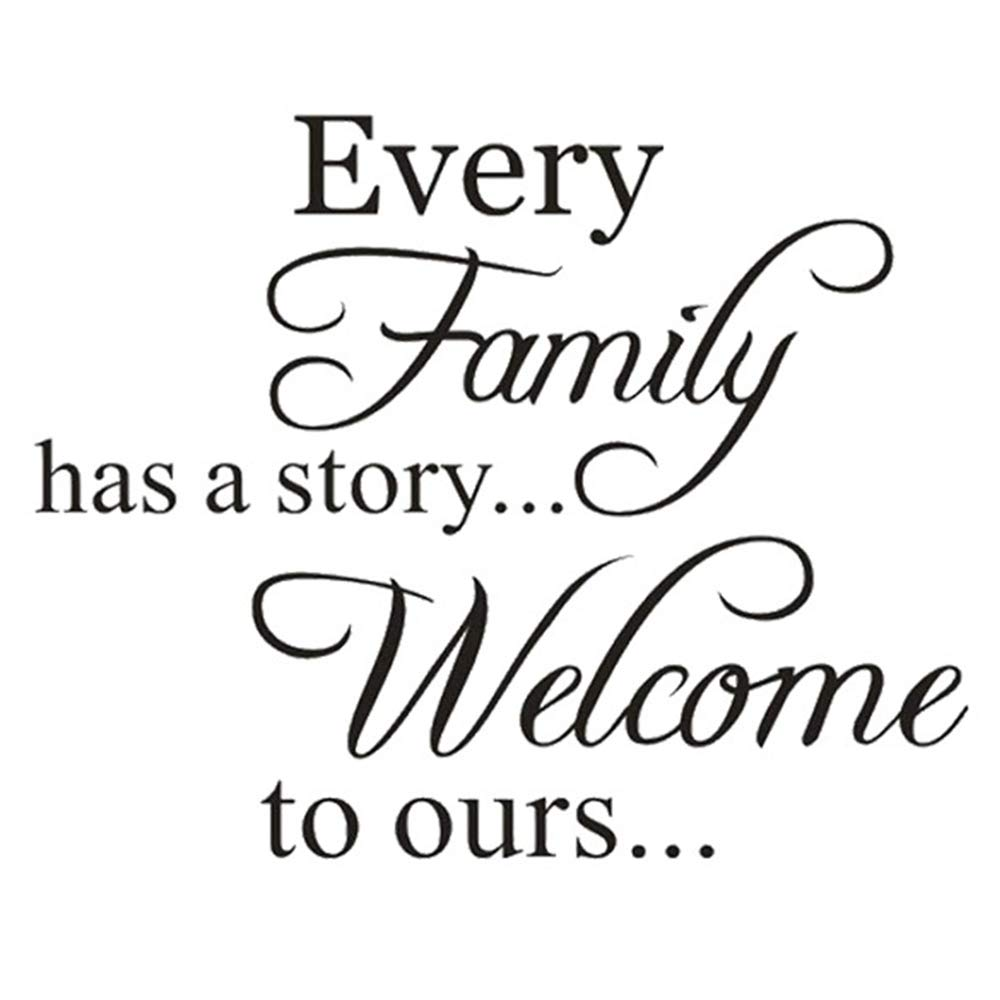 Every Family Has A Story Black Wall Sticker, Welcome to Ours Warm Saying Wall Decal, Enthusiasm Letter Removable Art Vinyl Decor for Wedding Living Room Home,Staircase(17.3×13.4In)
