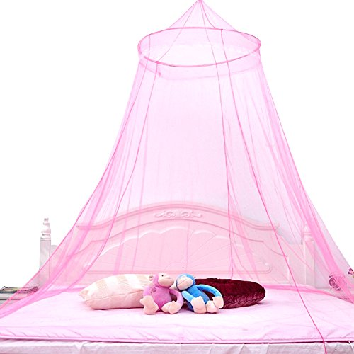 Geen-Coller Round Women girl Princess Lace Mosquito Net Indoor Insect Bed Can (Pink)