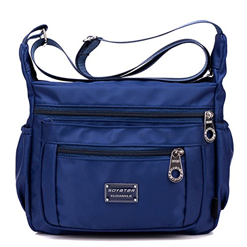 Crossbody Purse for Women, Adjustable Shoulder Strap Handbag w/ Multiple Zippered & Elastic Pockets + Organizer for Wallet, Passport, Boarding Pass & More, {Navy}, Water Resistant Nylon from Soyater ()