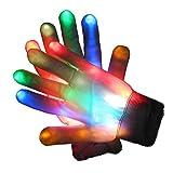 Glovion ONE Pair LED Light-Up Rainbow Gloves Colorful Flashing Light-emitting Halloween Gloves Game Party Decoration Gloves