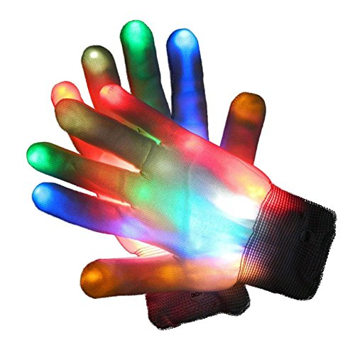 Glovion LED Gloves ONE Pair LED Light-up Rainbow Gloves Colorful Flashing Light-emitting Halloween Gloves Game Party Decoration Gloves